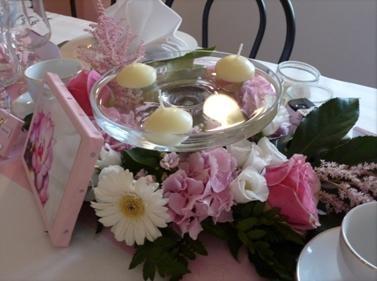 Couronne fleurs table mariage - Coupe en verre sur pied centre de table ...